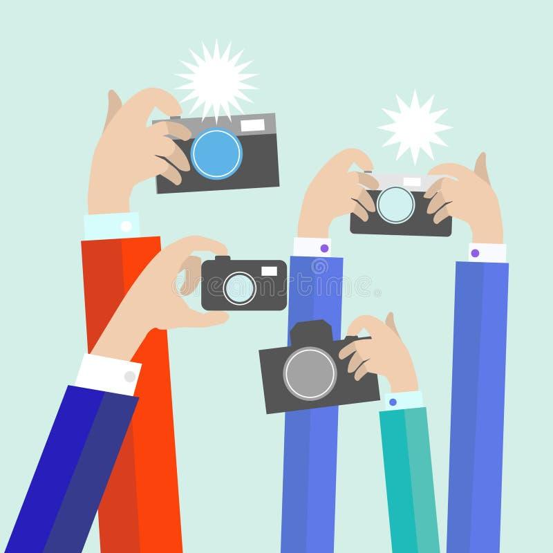 Nowożytne płaskie fotograf ręki z biorą fotografię ilustracja wektor