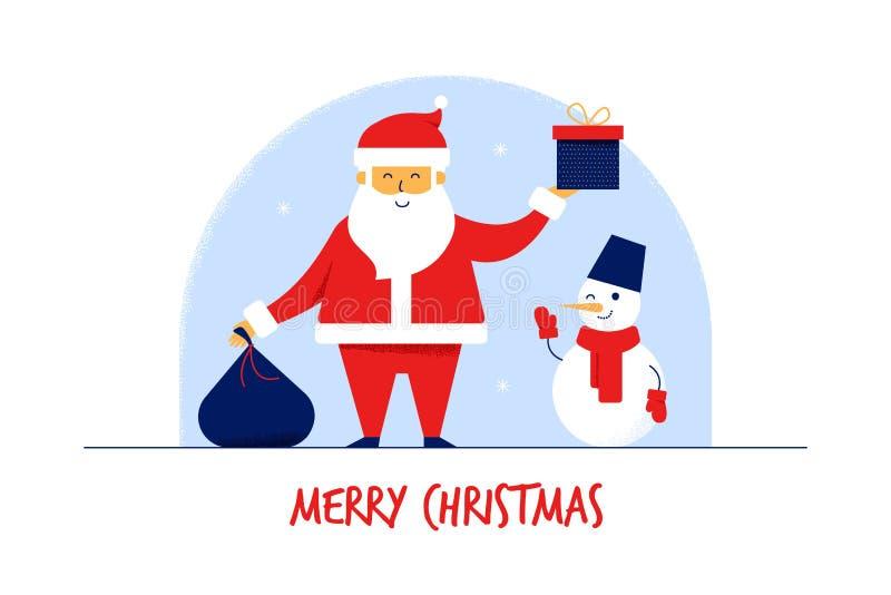 Nowożytne płaskie postacie z kreskówki Święty Mikołaj z prezent torbą, bałwan, Wesoło bożych narodzeń nowego roku kartki z pozdro ilustracji