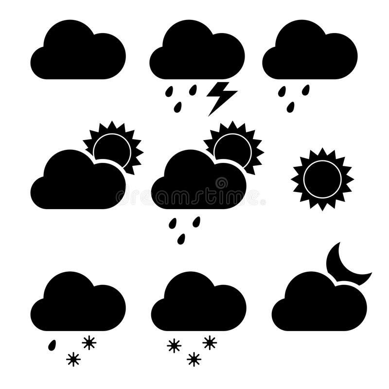 Nowożytne pogodowe ikony ustawiać Płascy wektorowi symbole na białym tle royalty ilustracja