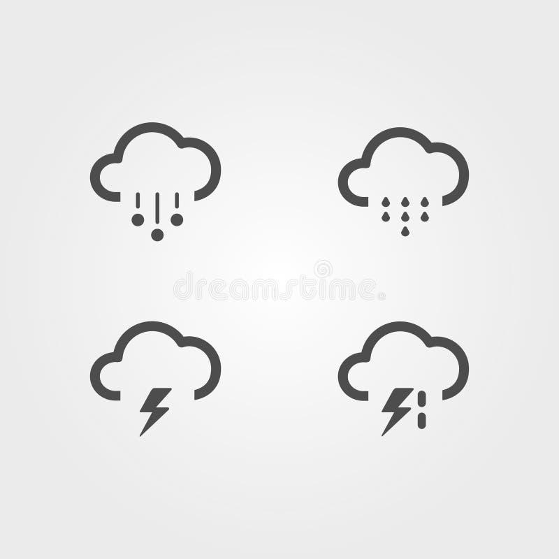 Nowożytne pogodowe ikony ustawiać Płascy wektorowi symbole na tle royalty ilustracja