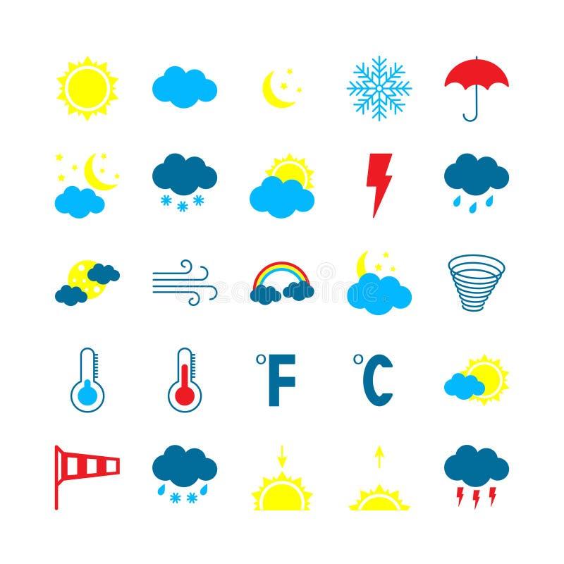 Nowożytne pogodowe ikony ustawiać Płaska wektorowa ilustracja ilustracji