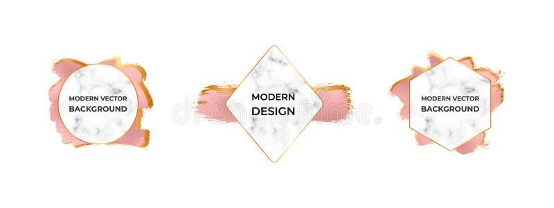 Nowożytne ramy z marmurową teksturą na róży złocistej folii muśnięciu muskają teksturę Projekt dla ślubnego zaproszenia, sztandar ilustracji
