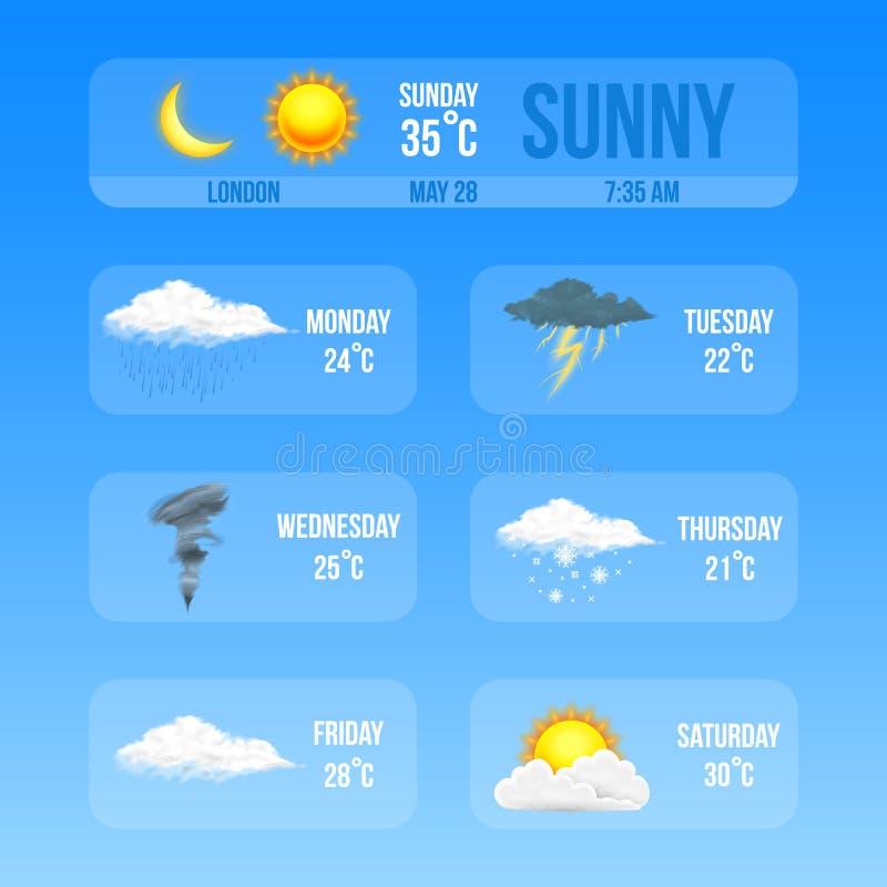 Nowożytne Realistyczne pogodowe ikony ustawiać Meteorologia symbole na błękitnym tle Kolor Wektorowa ilustracja dla wiszącej ozdo ilustracji