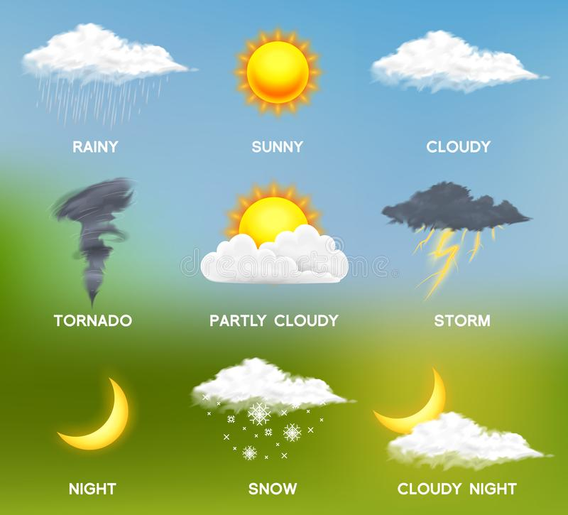 Nowożytne Realistyczne pogodowe ikony ustawiać Meteorologia symbole na barwionym tle Kolor Wektorowa ilustracja dla wiszącej ozdo royalty ilustracja