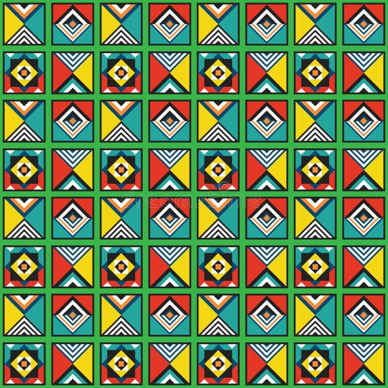 Nowożytne retro kolorowych i żywych kolorów geometrical dachówkowe ramy deseniują tło ilustracja wektor