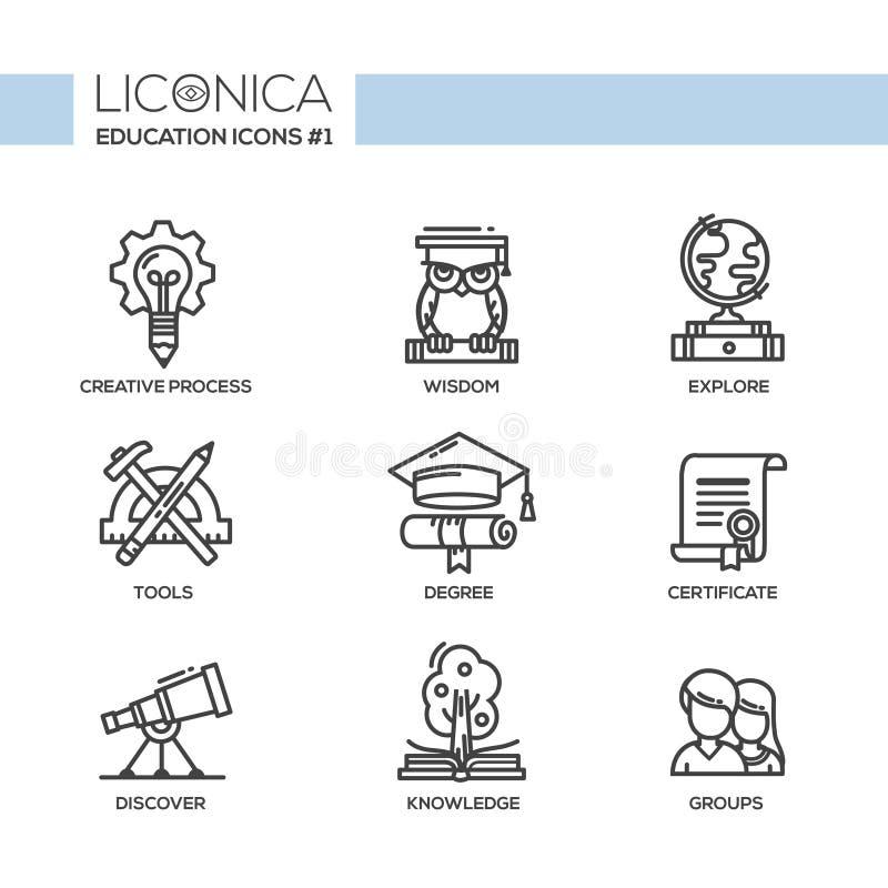 Nowożytne szkoły i edukaci projekta cienkie kreskowe ikony, piktogramy ilustracja wektor