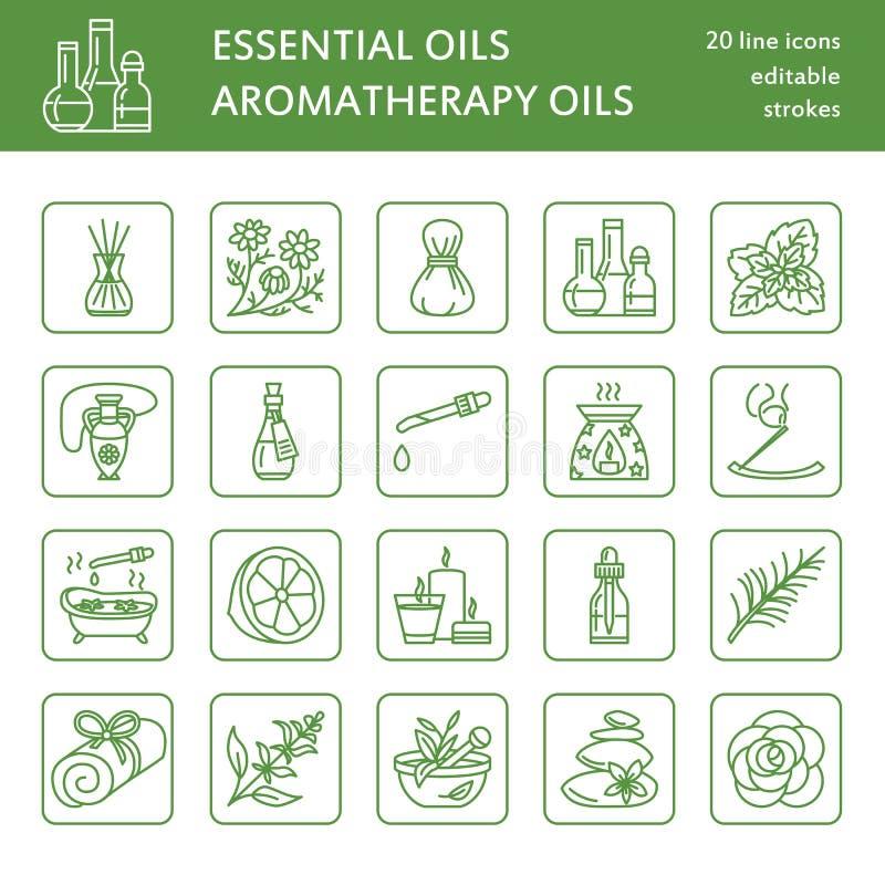 Nowożytne wektor linii ikony aromatherapy i istotni oleje Elementy - aromatherapy dyfuzor, nafciany palnik, zdrój świeczki ilustracja wektor