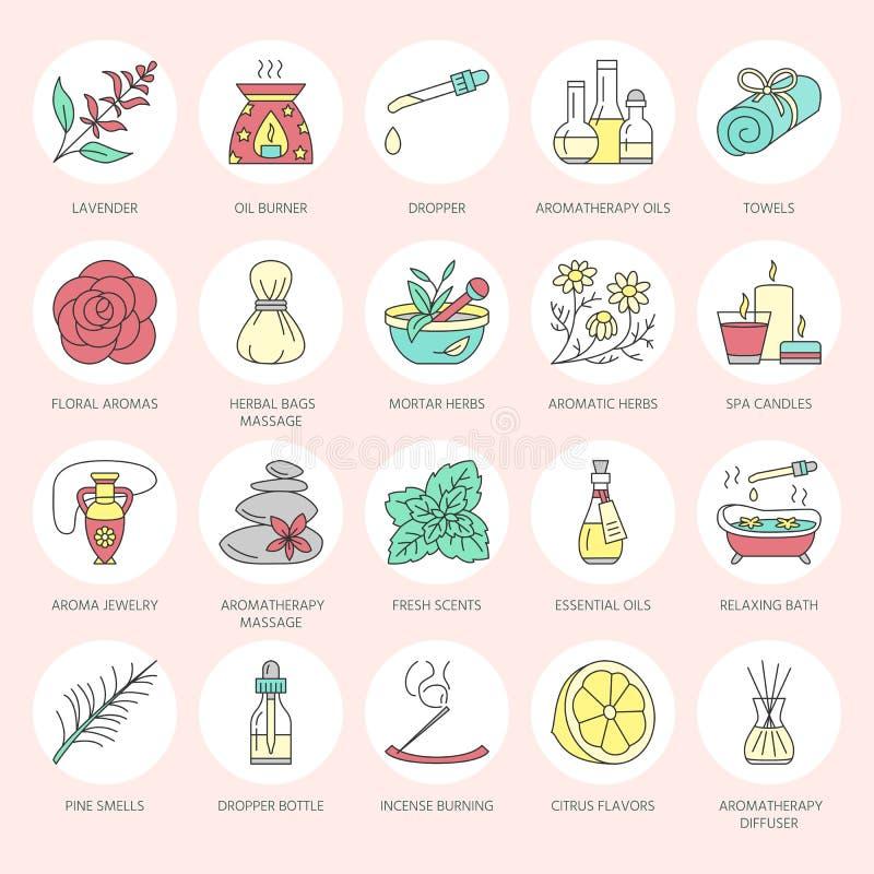 Nowożytne wektor linii ikony aromatherapy i istotni oleje Elementy - aromatherapy dyfuzor, nafciany palnik, zdrój świeczki ilustracji