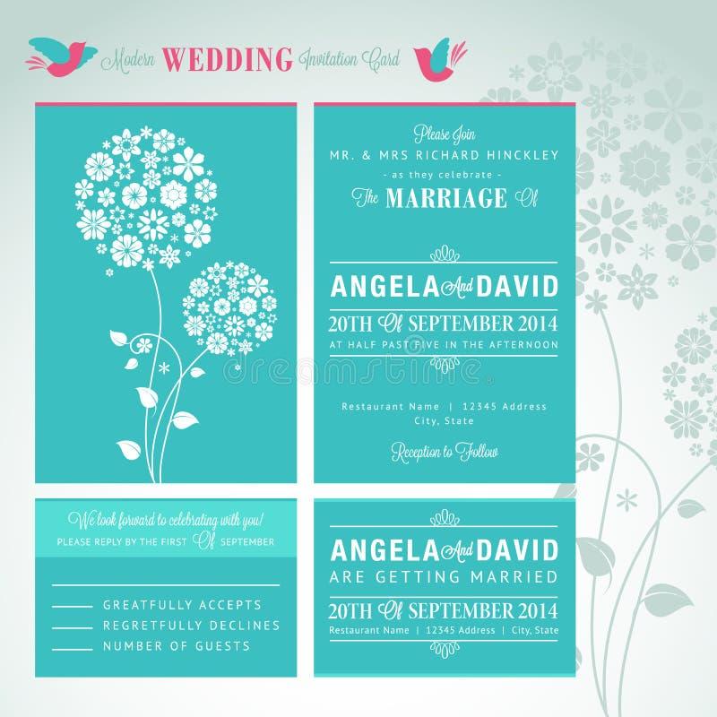 Nowożytnego ślubnego zaproszenia karciany set ilustracja wektor