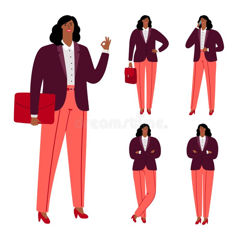 Nowożytnego afro amerykańskiego bizneswomanu charakteru wektorowy projekt ilustracja wektor