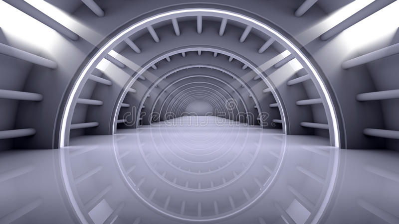 Nowożytnego architektury tła futurystyczny wnętrze ilustracji
