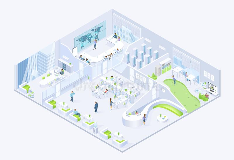 Nowożytnego Biznes Firma Biurowy Isometric wektor ilustracji