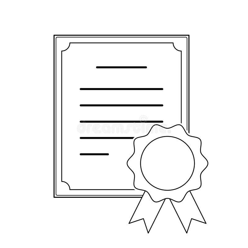 Nowożytnego cienkiego uderzenie konturu cerificate fachowa ikona z medalem Wektoru eps 10 ilustracji znak Mieszkanie papieru szko ilustracja wektor