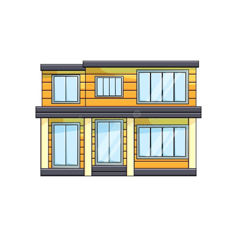 Nowożytnego drewnianego eco domu zewnętrzny frontowy widok z dachem na pustym tle ilustracja wektor