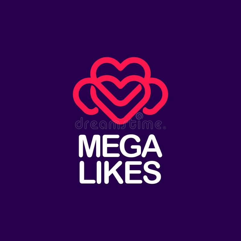 Nowożytnego fachowego logo megie podobieństwa w purpur i menchii temacie royalty ilustracja