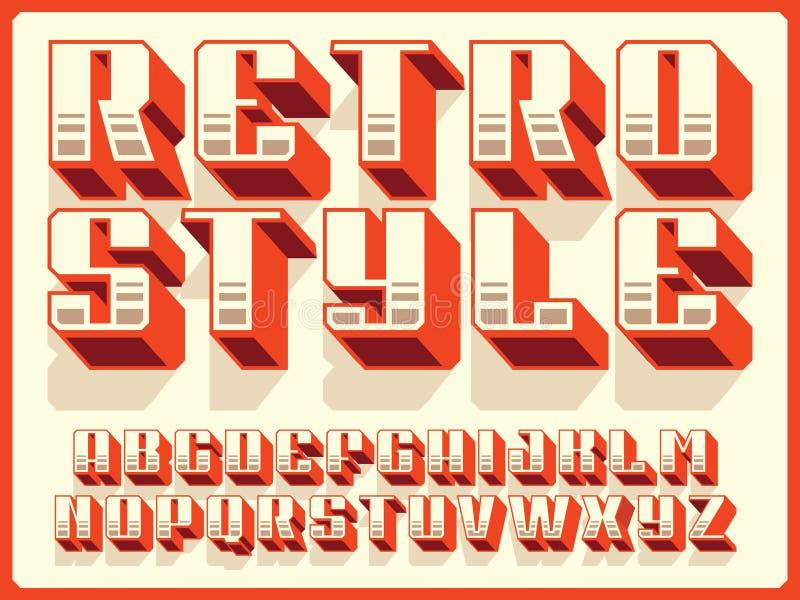 Nowożytnego fachowego wektoru 3d abecadła retro styl Obyczajowy typeface ilustracji