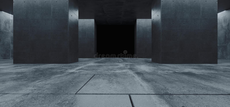 Nowożytnego Futurystycznego Sci Fi betonu Grunge kolumn korytarza Odbijającego Kafelkowego Podłogowego garażu Białej łuny asfaltu royalty ilustracja