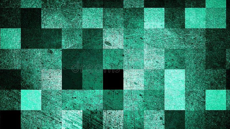 Nowożytnego grunge abstrakcjonistyczny tło z kwadratami, 3d odpłaca się komputer wytwarzającego tło ilustracji