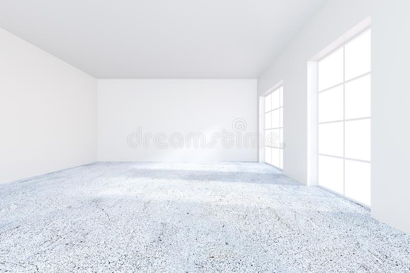 Nowożytnego grunge betonu biurowy wnętrze z pustą ścianą Egzamin próbny up, 3D rendering ilustracja wektor