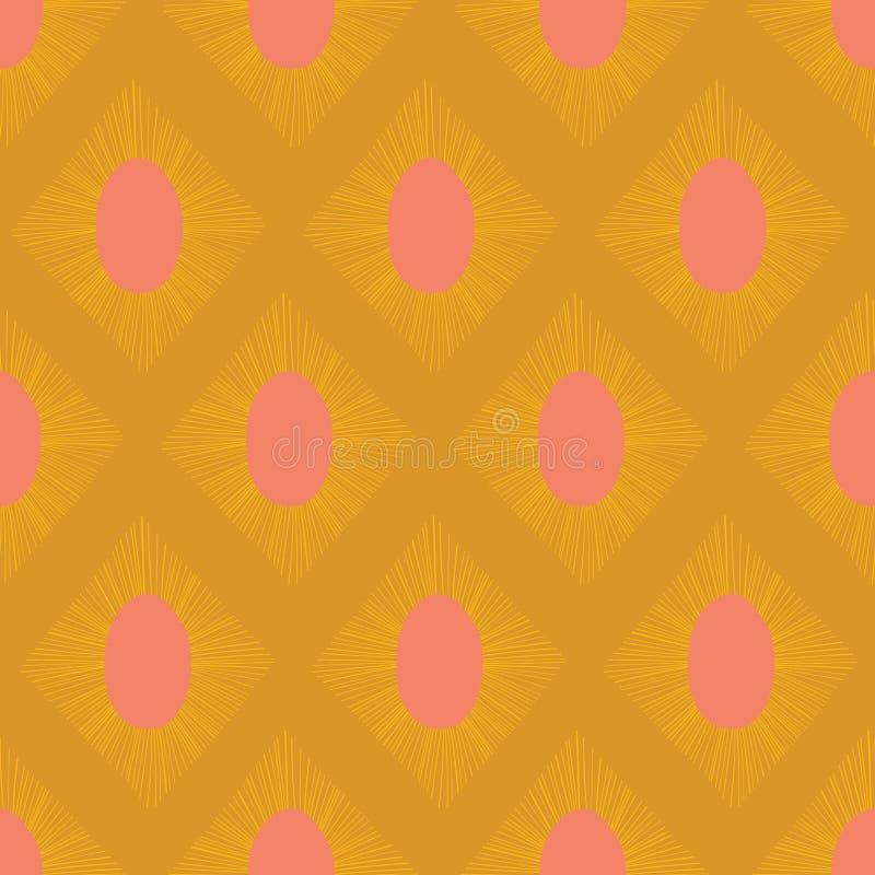 Nowożytnego Ikat wektoru bezszwowego wzoru koloru żółtego złociste menchie Abstrakcjonistyczny rhombus kształtuje wielostrzałoweg ilustracji