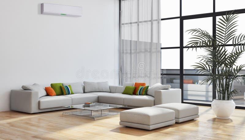Nowożytnego jaskrawego wnętrza mieszkania Żywy pokój z lotniczym warunkiem ilustracja wektor