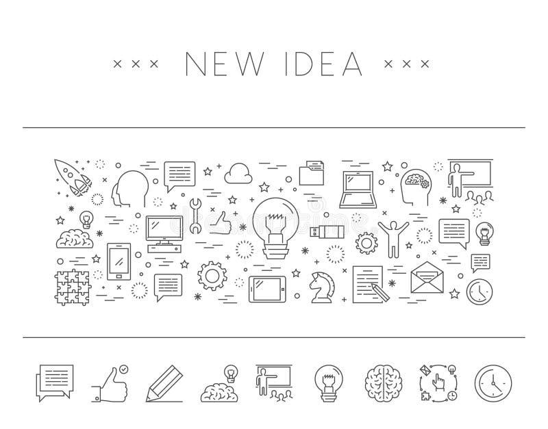 Nowożytnego konturu horyzontalny sztandar dla nowego pomysłu ilustracji