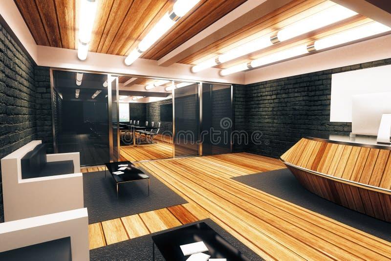 Nowożytnego loft stylu przestronny recepcyjny pokój z wejściem w przeciw ilustracja wektor