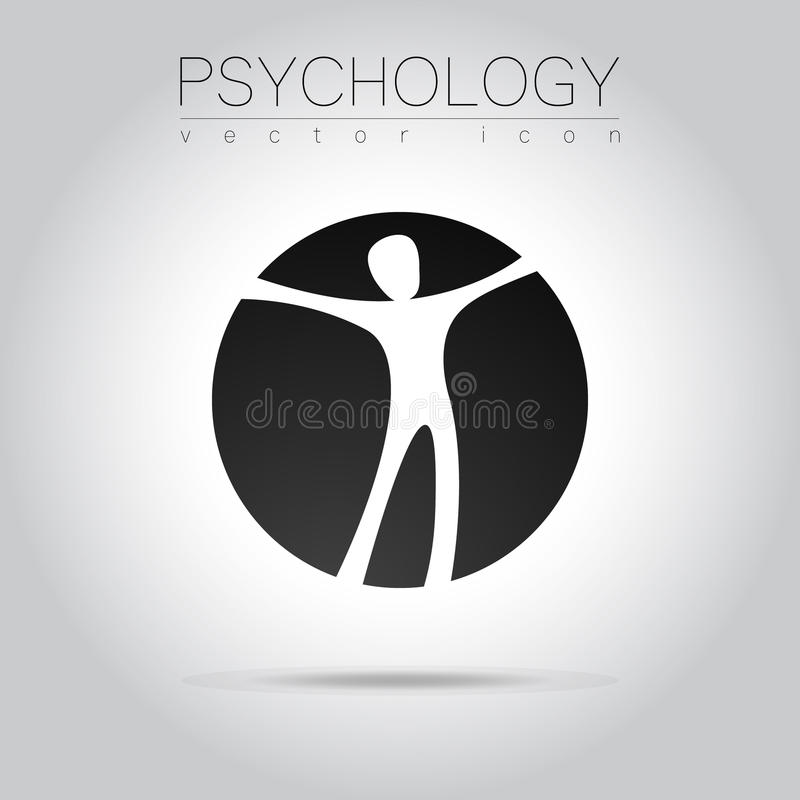 Nowożytnego mężczyzna loga znak psychologia Istota ludzka w okręgu Kreatywnie styl Ikona w wektorze ilustracja wektor