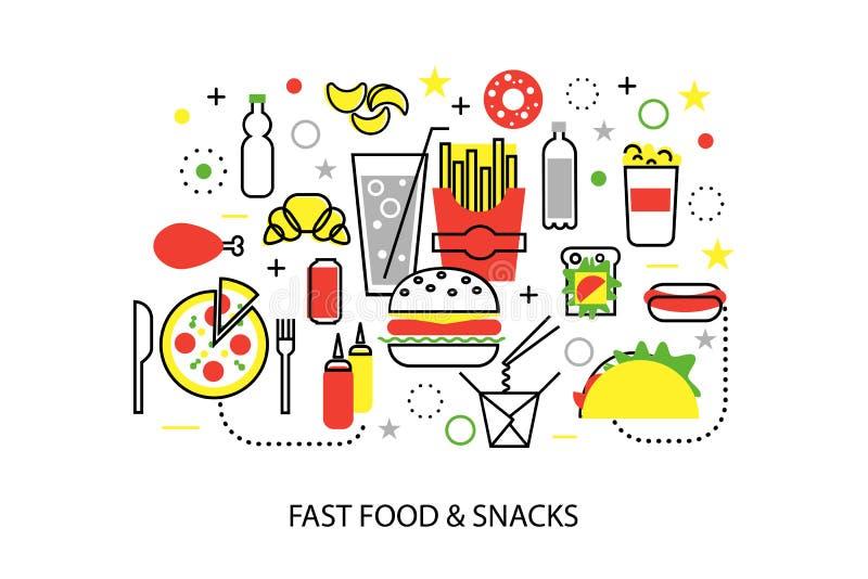 Nowożytnego mieszkanie cienkiego kreskowego projekta wektorowa ilustracja, pojęcia niezdrowy fast food i przekąski, ilustracja wektor