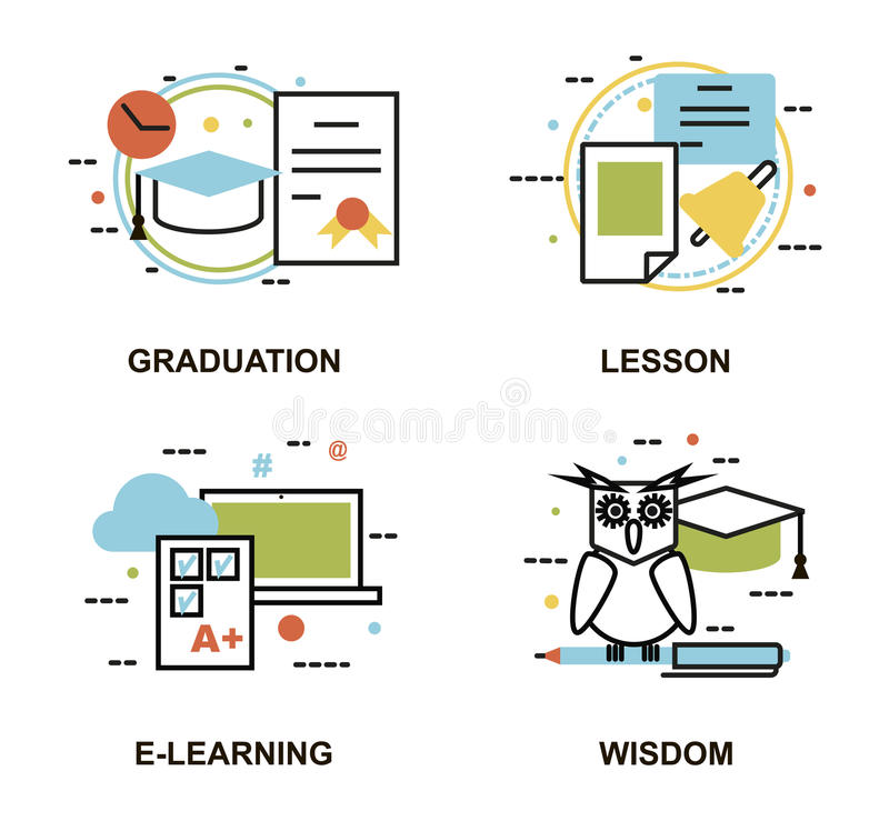 Nowożytnego mieszkanie cienkiego kreskowego projekta wektorowa ilustracja, set edukacj pojęcia, gradution, szkolna lekcja, naucza ilustracji