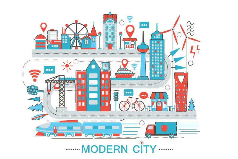 Nowożytnego Nowożytnego mądrze miasta mieszkania linii projekta stylu infographics graficzny pojęcie globalnej sieci technologia  royalty ilustracja