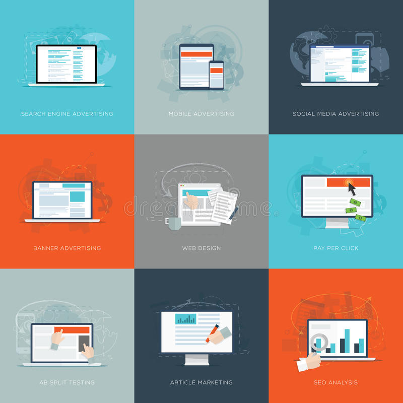 Nowożytnego płaskiego interneta marketingowe biznesowe wektorowe ilustracje ustawiać royalty ilustracja