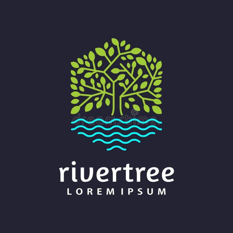 nowożytnego płaskiego sześciokąta loga drzewny jeziorny szablon ilustracja wektor