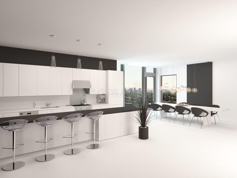 Nowożytnego planu czarny i biały kuchnia ilustracji