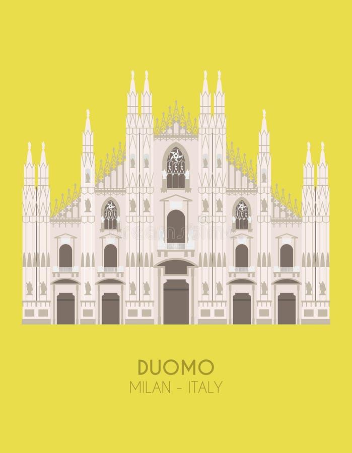 Nowożytnego projekta plakat z kolorowym tłem Mediolański Katedralny Mediolan, Włochy ilustracja wektor