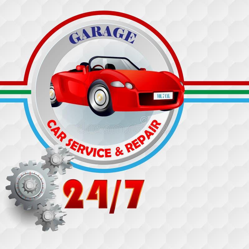 Nowożytnego projekta szablon dla usługa i naprawy garażu, samochodu, podpisuje ilustracja wektor