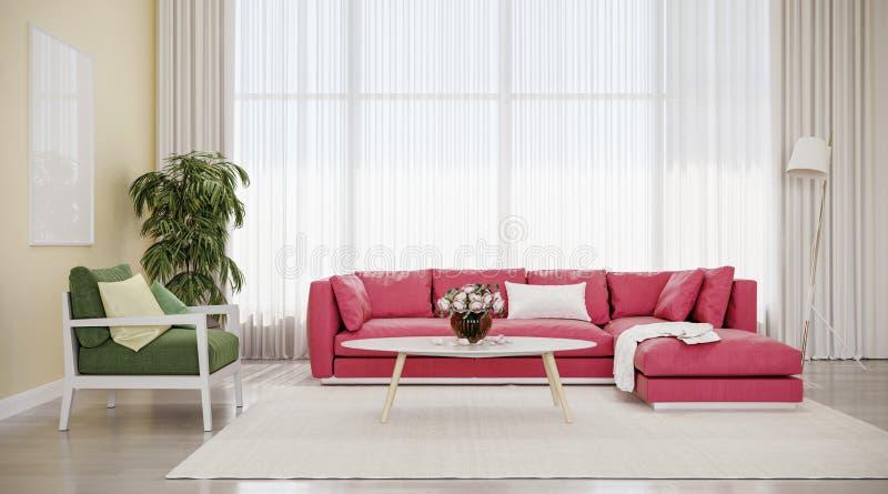 Nowożytnego projekta wewnętrzny żywy pokój, czerwona kanapa z zielonym krzesłem zdjęcie stock