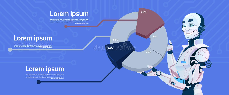 Nowożytnego robota chwyta Graficzny diagram, Futurystyczna Sztucznej inteligenci mechanizmu technologia ilustracja wektor