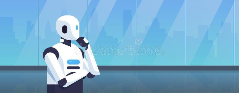 Nowożytnego robota mienia ręki myślący humanoid podbródek rozpamiętywa sztucznej inteligencji technologii cyfrowej pojęcia kreskó royalty ilustracja
