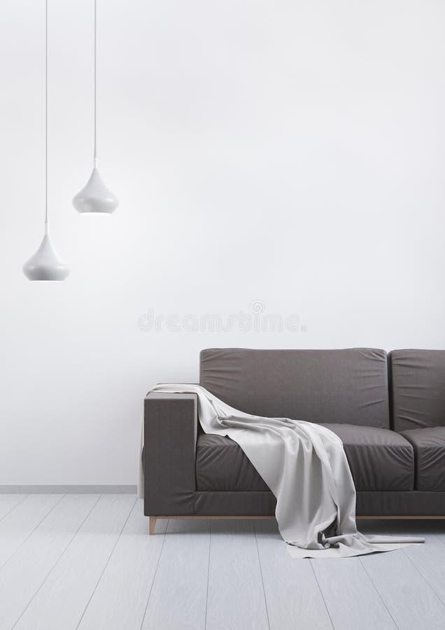 Nowożytnego rocznika żywy pokój Brown rzemienna kanapa na popielatej drewnianej podłoga i światła ścianie 3 d czynią royalty ilustracja
