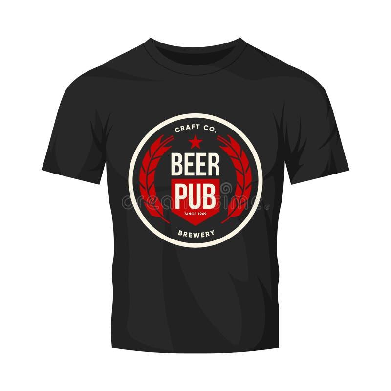 Nowożytnego rzemiosło piwnego napoju loga wektorowy znak dla baru, pubu, brewhouse lub browaru odizolowywających na czarnym koszu ilustracji