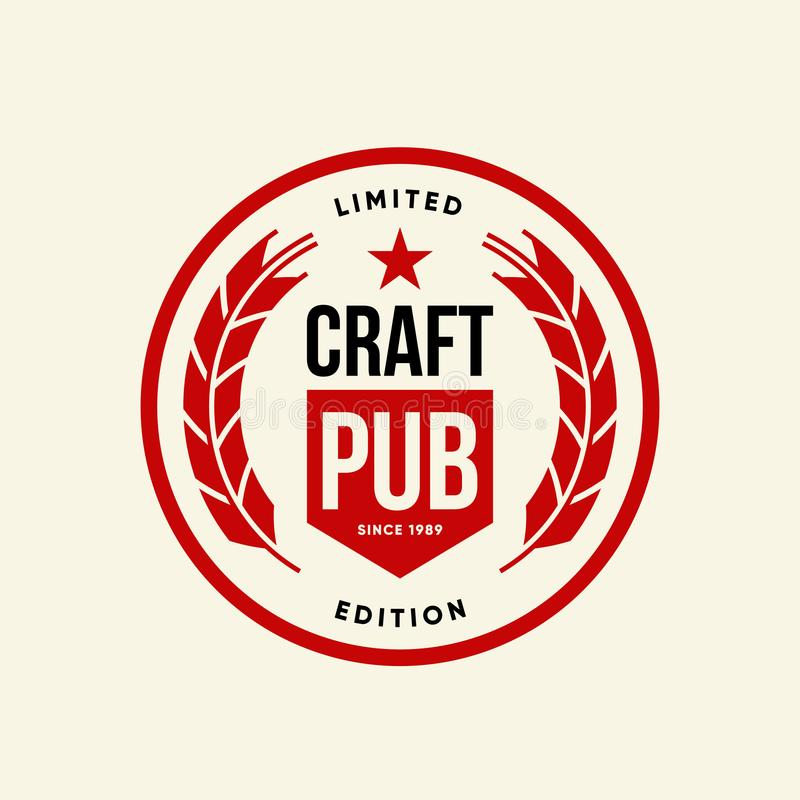 Nowożytnego rzemiosło piwnego napoju loga wektorowy znak dla baru, pubu, brewhouse lub browaru odizolowywających na lekkim tle, royalty ilustracja