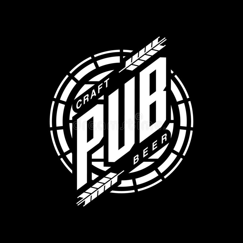Nowożytnego rzemiosło piwnego napoju logo wektorowy znak dla baru, pubu lub browaru odizolowywających na czarnym tle, royalty ilustracja