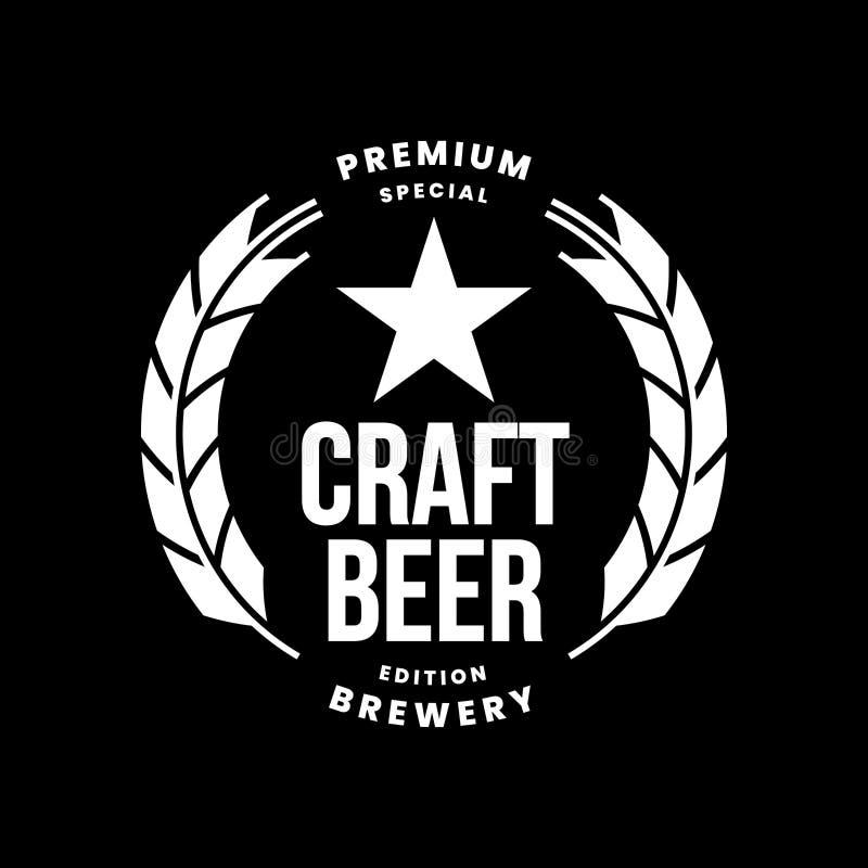 Nowożytnego rzemiosło piwnego napoju logo wektorowy znak dla baru, pubu, sklepu, brewhouse lub browaru odizolowywających na czarn ilustracja wektor