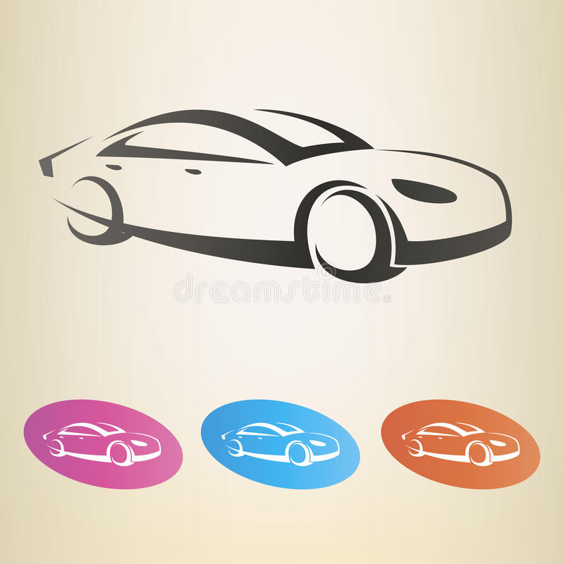 Nowożytnego samochodu zarysowany vsymbol royalty ilustracja