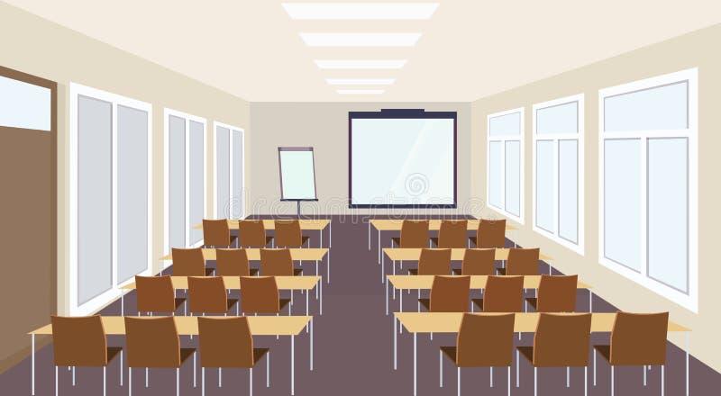 Nowożytnego spotkania prezentacji sali lekcyjnej konferencyjny wnętrze z biurek krzesłami i pusty ekran wykładamy seminaryjną sal royalty ilustracja