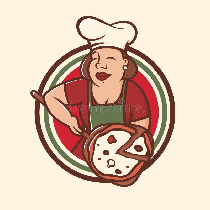 Nowożytnego wektorowego fachowego emblemata loga mamas duży kucharz