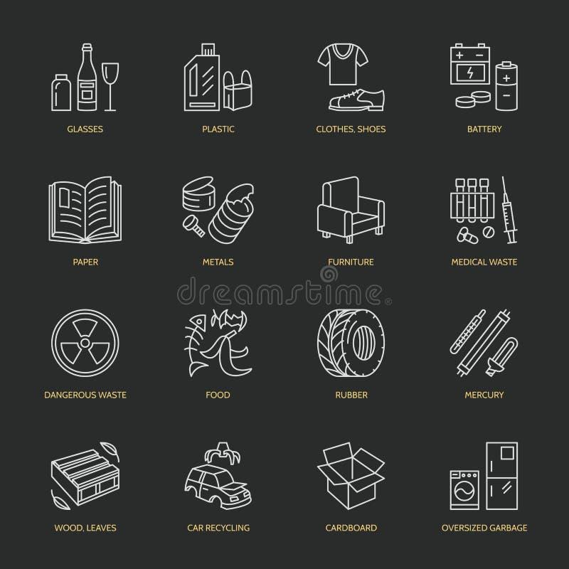 Nowożytnego wektoru cienkie kreskowe ikony jałowy sortować, przetwarza Śmieciarska kolekcja Recyclable grat - papier, szkło, klin ilustracji