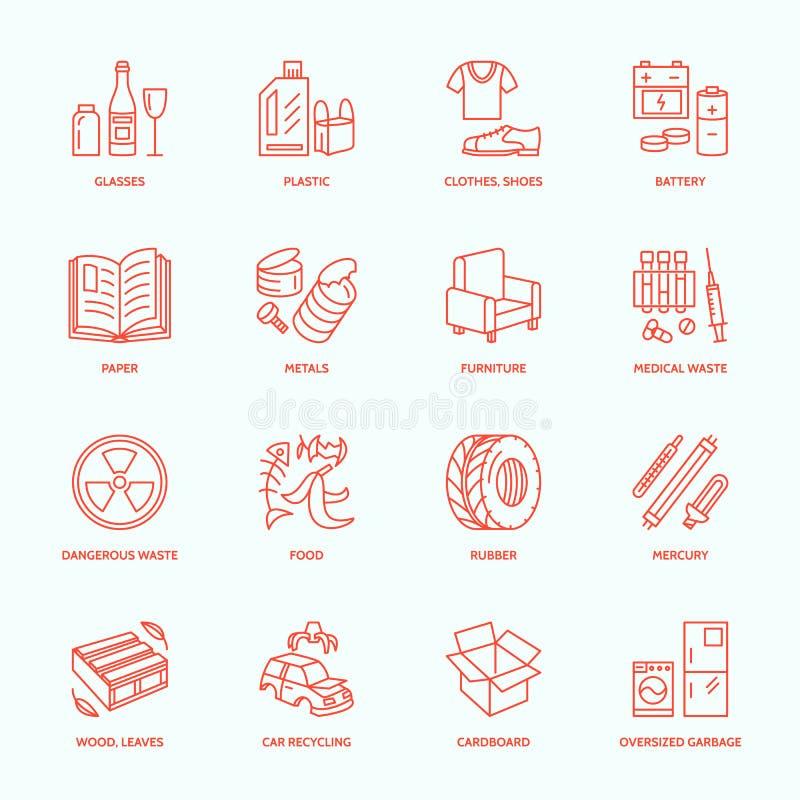Nowożytnego wektoru cienkie kreskowe ikony jałowy sortować, przetwarza Śmieciarska kolekcja Recyclable grat - papier, szkło, klin ilustracja wektor