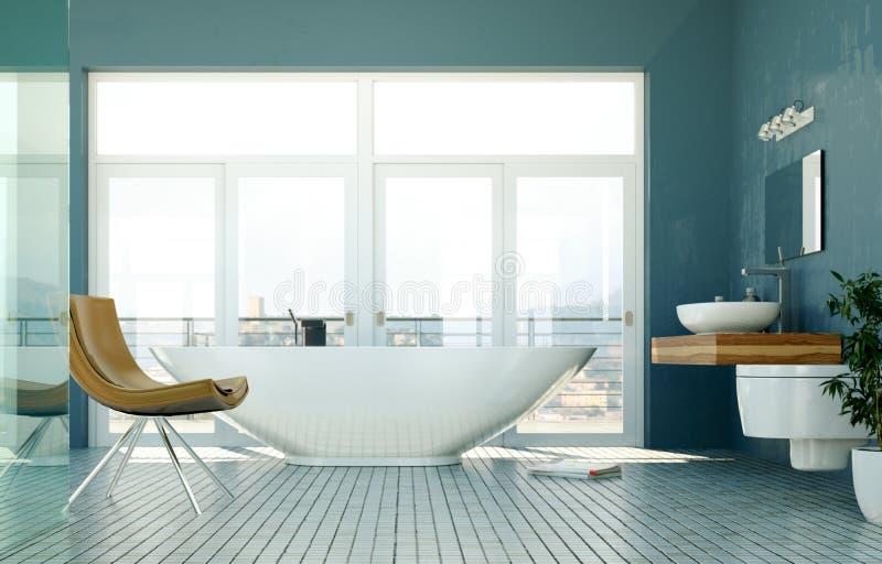 Nowożytnej łazienki wewnętrzny 3d rendering z widok na ocean royalty ilustracja